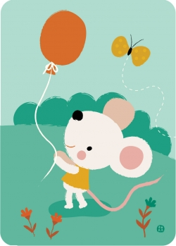 Postkaart Balloon mouse