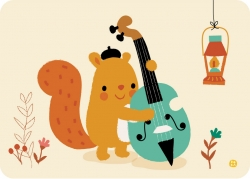Postkaart Double bass squirrell