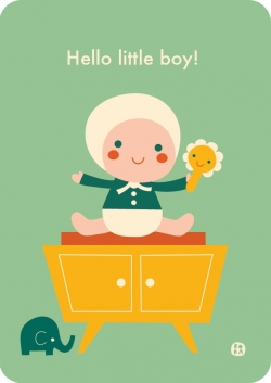 Postkaart Hello baby - Little boy
