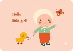 Postkaart Hello baby - Little girl